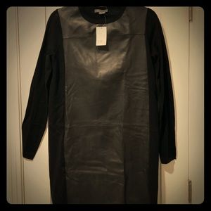 New Vince wool & leather front panel tunic dress